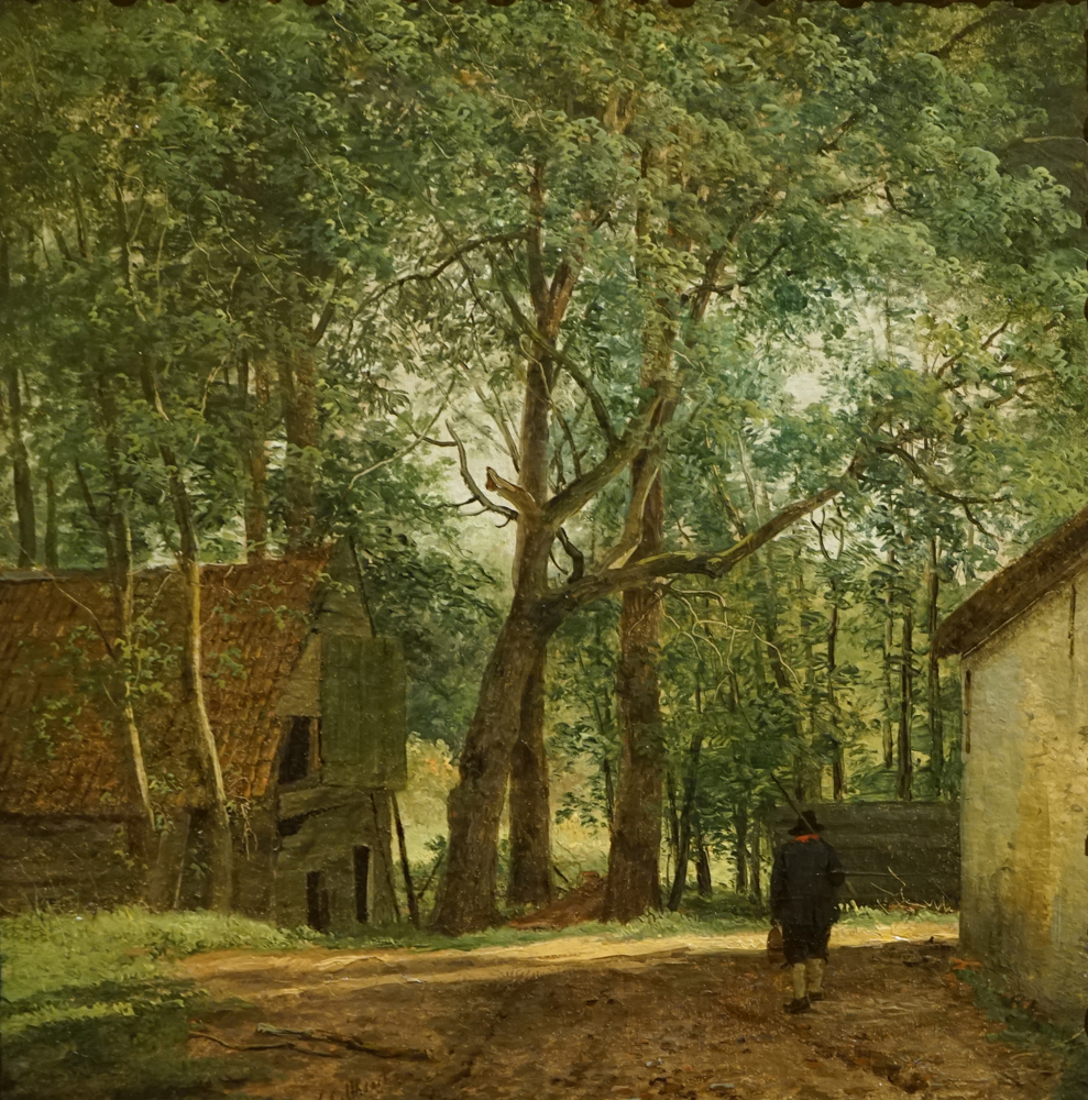 Afbeelding boerenerf tussen 1820 en 1830 van Andreas Schelfhout